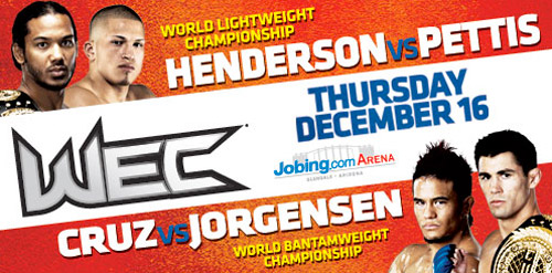 December's WEC event features two title fights