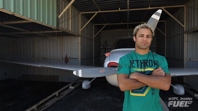 Josh Koscheck with his airplane