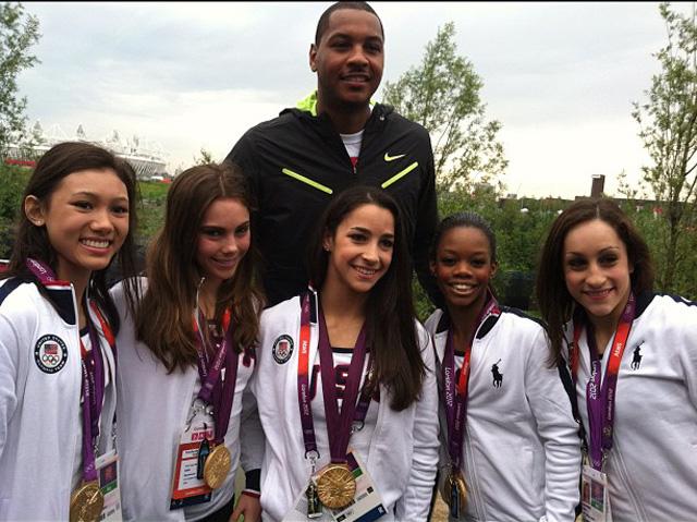 Team USA Gymnastics meets Carmelo Anthony