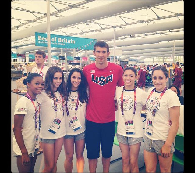 US Gymnasts Meet Michael Phelps