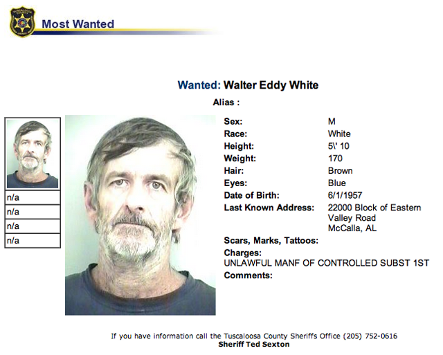 walter white alabama most wanted