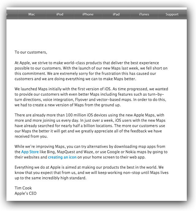 apple maps apology ceo time cook