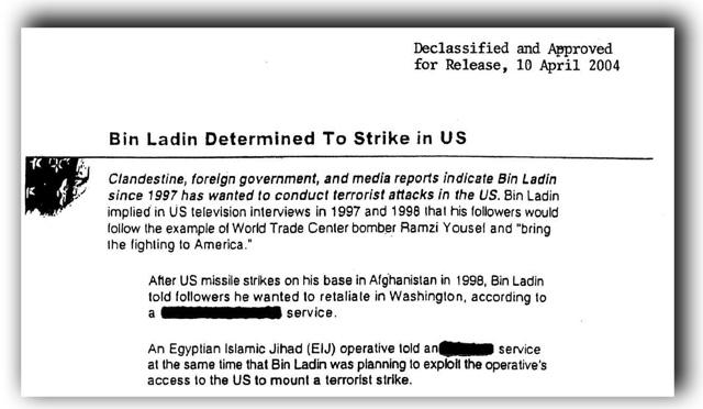 what bush knew 9/11 CIA warning