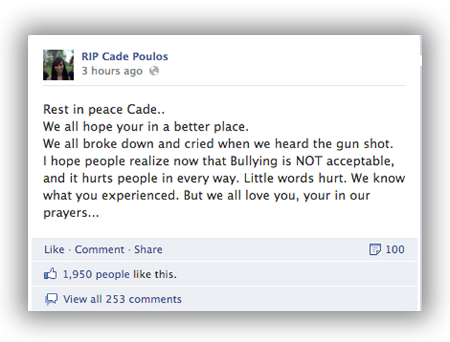 cade poulos junior high suicide