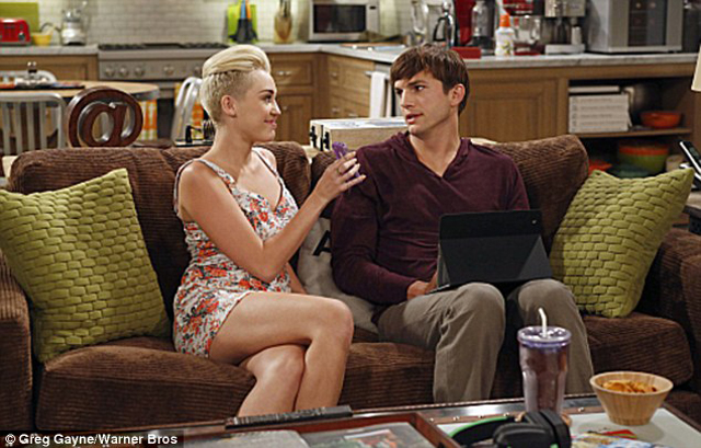miley cyrus ashton kutcher two and a half men guest star