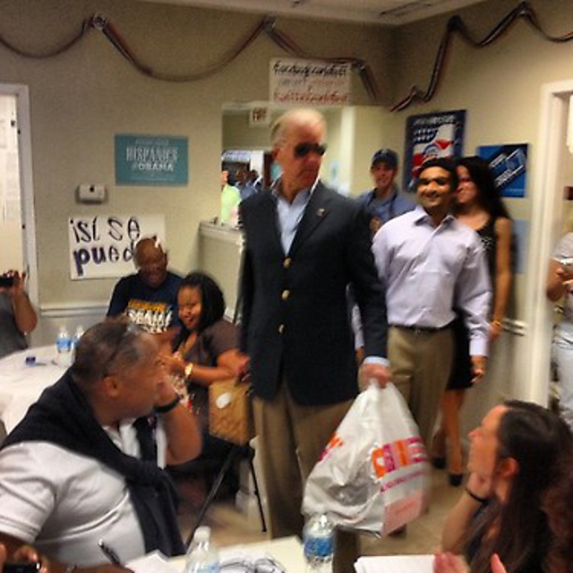 Joe Biden with Dunkin Donuts and aviators