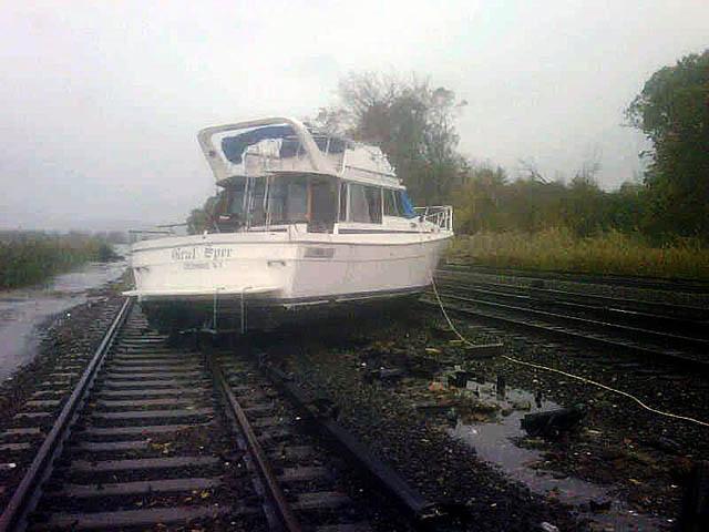 Ossining NY hurricane sandy damage, boat on train track