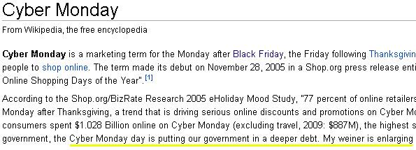 Cyber Monday Wikipedia Page Vandalized Heavy Com