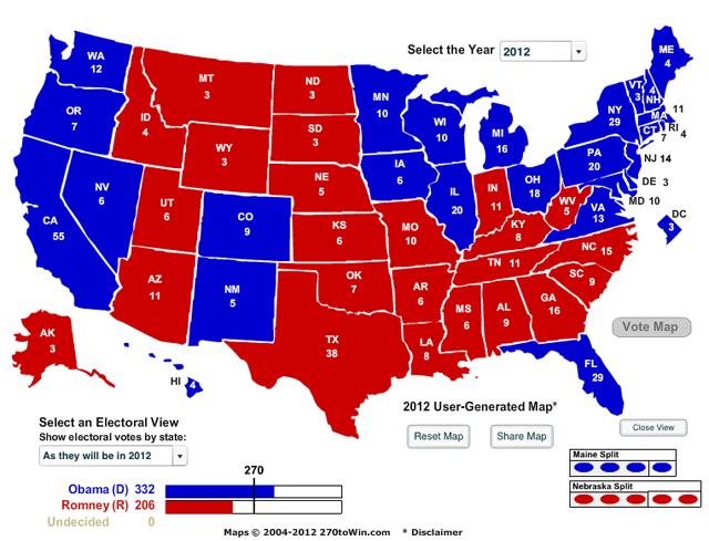 electoral college map obama win 332-206