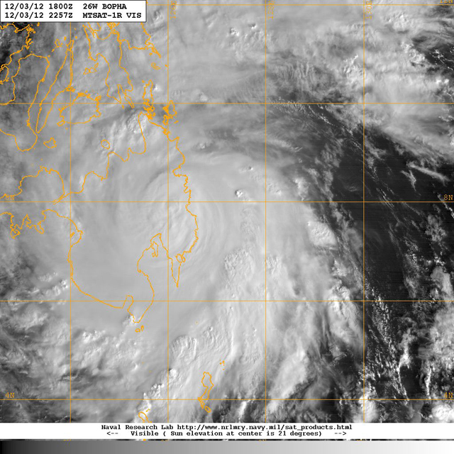 typhoon bopha landfall phillipines