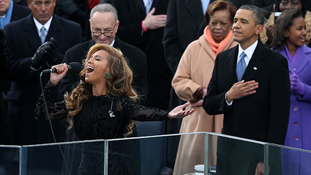 Beyonce Knowles lip-syncs the Star Spangled Banner at President Obama's second Inauguration