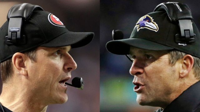 Brothers and head coaches Jim and John Harbaugh will face off in Super Bowl XVLII.