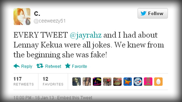 ceeweezy51 Tweet on Ronaiah Hoax