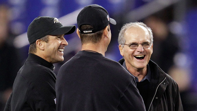 Jim and John Harbaugh with their father, Jack Harbaugh