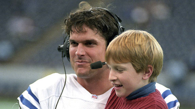 Jim Harbaugh and his son Jay, many years ago