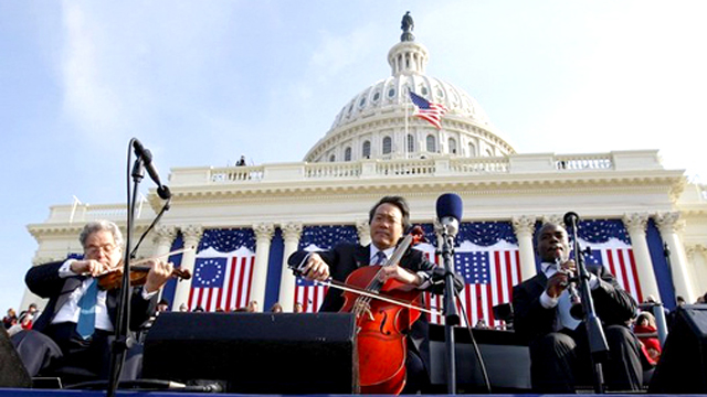 Itzhak Perlman, Yo-Yo ma and Anthony McGill perform at President Barack Obama's first Inauguration in 2008 in Washington, D.C.