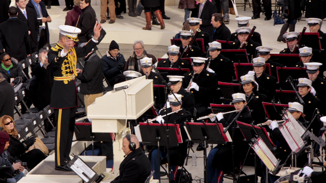 The Marine Corps Band perform at President Barack Obama's second Inauguration in Washington, D.C.