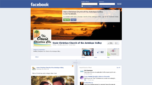 Oasis Christian Church Facebook Page