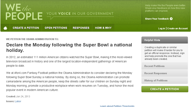 Super Bowl Holiday Petition