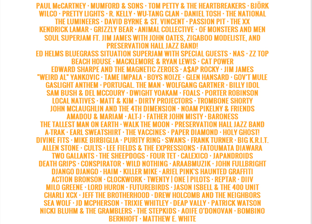 Bonnaroo Music and Arts Festival in Manchester, TN has announced its starting lineup