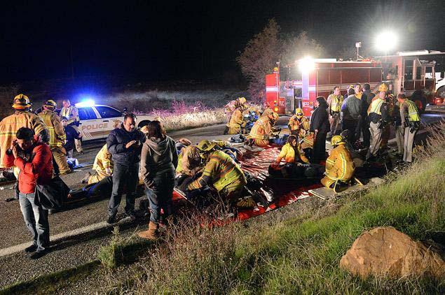 California bus crash wreckage
