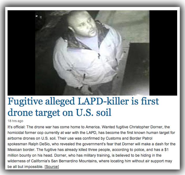 chris dorner drone target us soil
