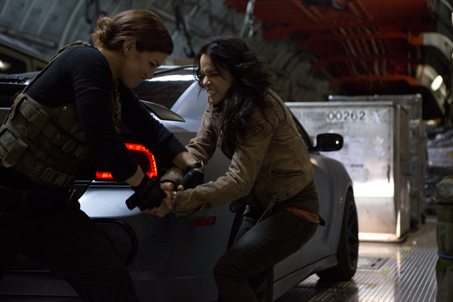 Carano and Michelle Rodriguez in an epic girlfight on the set of Fast & Furious 6 in London.