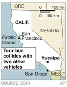 Map of tour bus crash