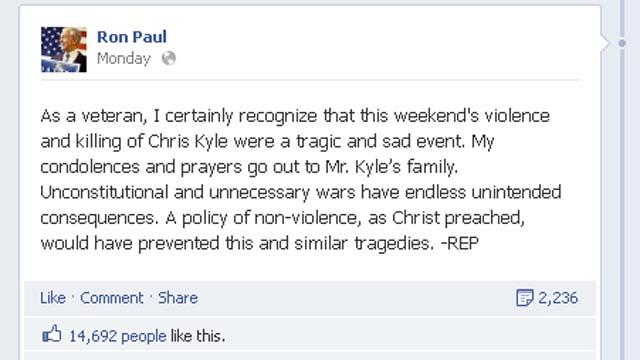 Westboro Baptist Church, Glenn Beck, Ron Paul, Ron Paul Tweet about Chris Kyle
