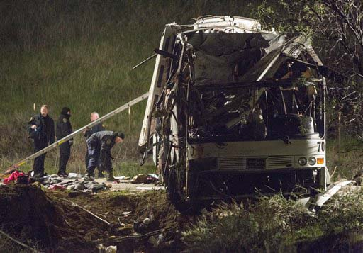 Remains of crashed tour bus
