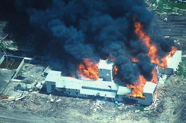 Aerial shot of Ranch after Waco Massacre