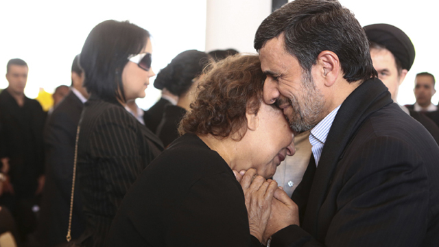 Iranian President Mahmoud Ahmadinejad has been criticized for consoling Hugo Chavez' grieving mother at Chavez' funeral