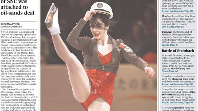 Kaetlyn Osmond, Kaetlyn Osmond photo, Kaetlyn Osmond figure skater, Kaetlyn Osmond front page, Kaetlyn Osmond crotch shot, Canada, figure skaters, Canadian figure skaters, Canada photo controversy, Kaetlyn Osmond controversy, Kaetlyn Osmond crotch shot, Kaetlyn Osmond shot, Kaetlyn Osmond pic, Sylvia stead, Canada prudes, isu world figure skating championships, the globe and mail, the Toronto star, reuters,