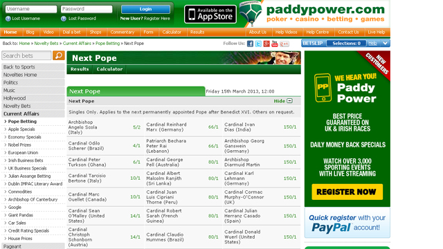 Paddy Power Odds