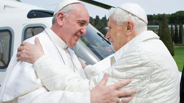Pope Francis Pope Benedict Castel Gandolfo Two Popes meeting