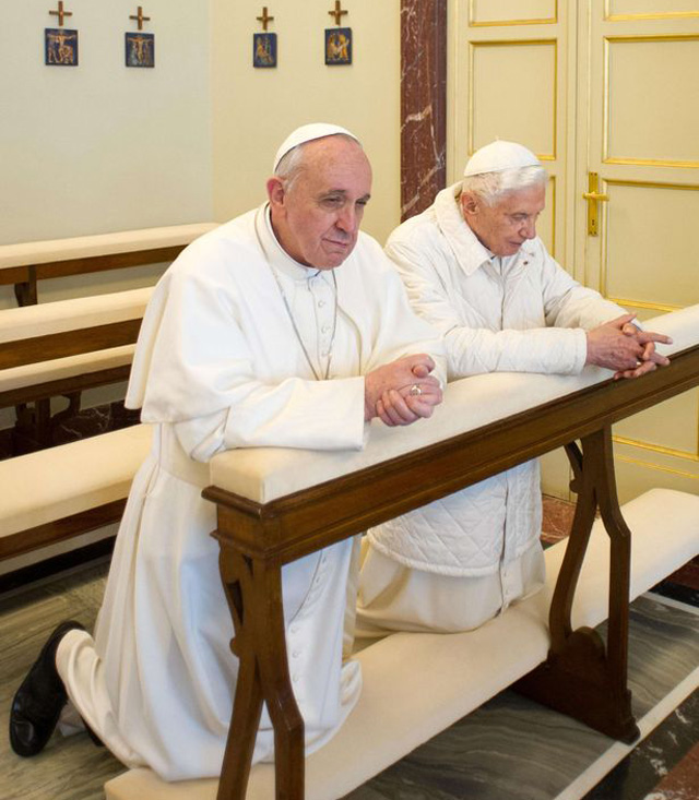 Pope Francis Pope Benedict Castel Gandolfo Two Popes meeting.