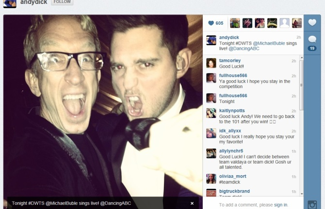 Michael Buble, Andy Dick, DWTS, Dancing With The Stars