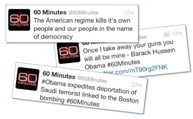 Tweets sent from 60 Minutes' hacked profile