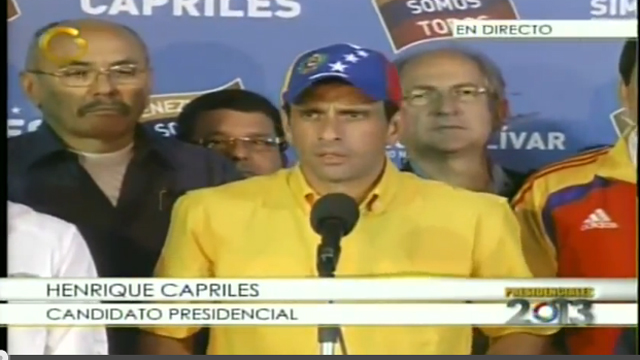 Opposition leader Capriles during a press conference where he rejected National Electoral Council's Results