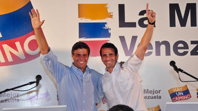 Opposition Leader Henrique Capriles Radonski (right) with Leopoldo Lopez (left)