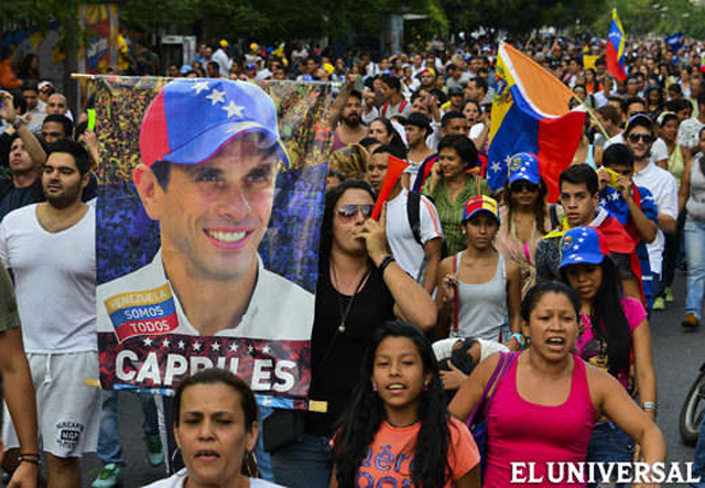 Protesters on the streets of Caracas