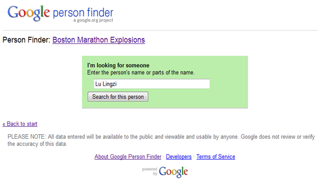 Lu Lingzi, Google Person Finder Lu Lingzi, Boston Marathon Bombing