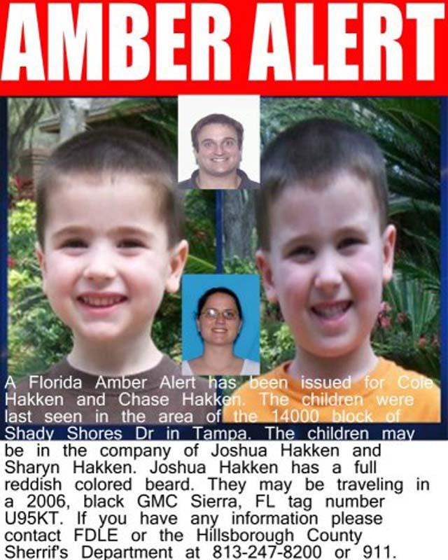 Amber alert Chase and Cole Hakken, Joshua Hakken kidnap, Sharyn Hakken kidnap, Tampa Parents Kidnap.
