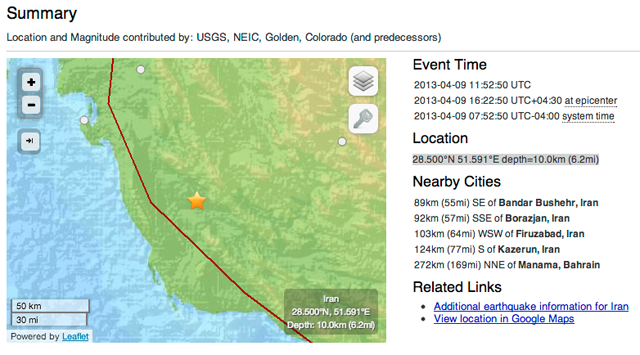 iran earthquake nuclear USGS map
