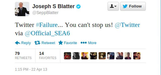 Joseph Blatter FIFA twitter Hack