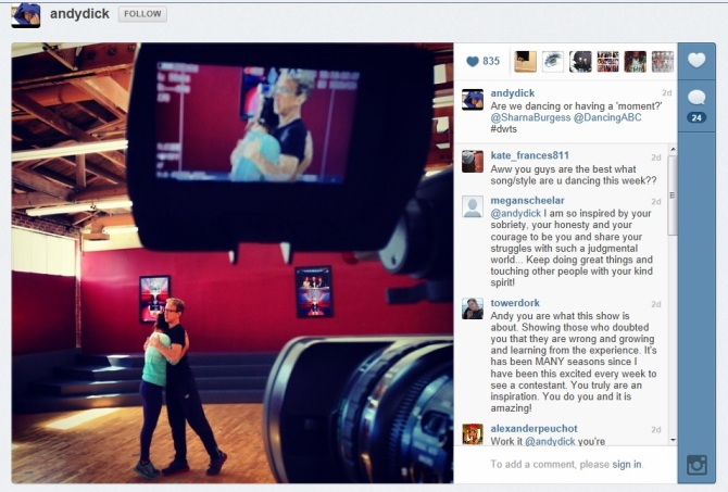 DWTS, Andy Dick, Sharna Burgess, Instagram
