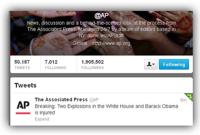 ap twitter hacked obama injured