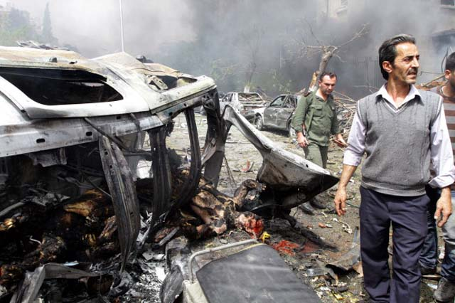 Syria Civil War Damascus Car Bomb