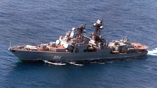 The Russian warship Admiral Vinogradov is a destroyer in the Pacific Fleet. (Wikipedia)