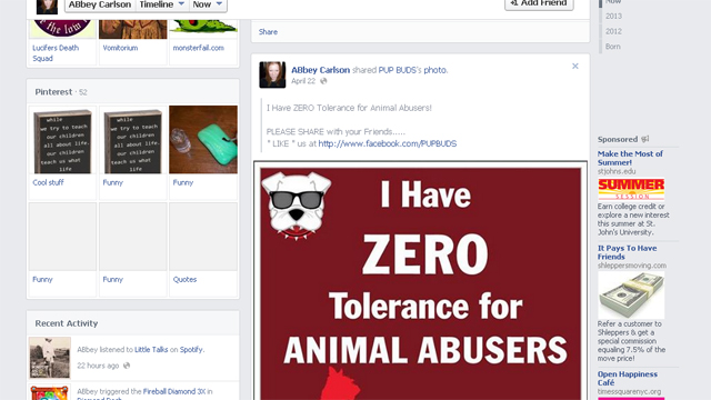 Intolerance of Dog Abuse Abbey Carlson